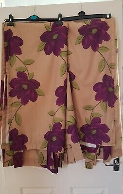 Tab Top Curtains 72 Drop By 66. Gold And Purple. Excellent Condition. Opulence  • 5£