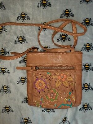 Fossil Real Leather Cross Body Bag Light Tan Natural Embossed Cute! Gorgeous!  • 5.10£