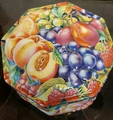 Churchill's Octagonal Sweet Tin With Embossed Fruits  • 6£