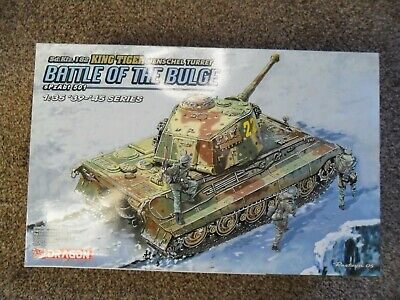 DRAGON 1/35 Sd.Kfz.182 King Tiger Henschel Turret Battle Of The Bulge+ Extras • 40£