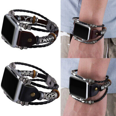$ CDN14.39 • Buy Vintage Double Twist Leather Band Iwatch Strap For Apple Watch 38 40 42 44mm