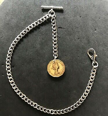 £6.95 • Buy  Silver Colour Albert Pocket Watch Chain With A E II Brass Threepenny Bit  Fob