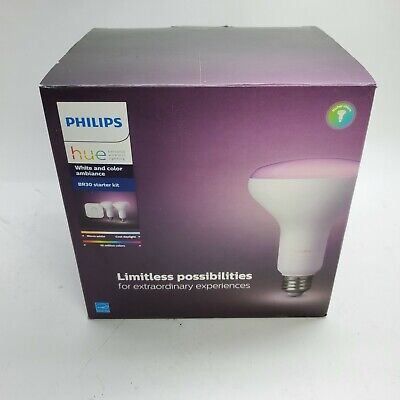 AU147.44 • Buy Philips Hue BR30 Starter Kit White And Color Ambiance (2 Bulbs + 1 Bridge) NEW
