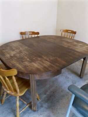 AU10 • Buy Old Dining Table On Castors. Seats 8.