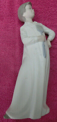 LLADRO / NAO Large 30cm Tall Young Boy Figurine Standing Fly Swatter Bed Gown • 15£