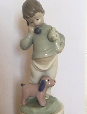 Nao By Lladro Boy With Pink Dog And Teddy  • 10£