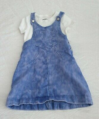 Girls F&F Dungaree Dress With White Top Age 7-8 Years • 2.50£