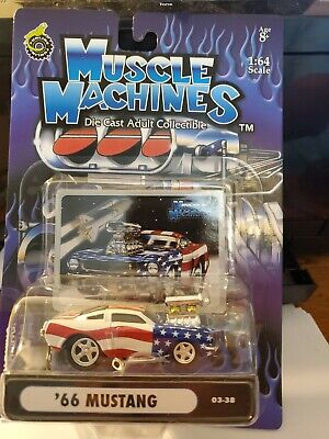 Funline Muscle Machines '66 Mustang Flag Die Cast Red White Blue • 5.06£