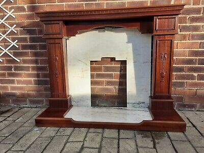 £30 • Buy  Mahogany Vaneer Fire Surround With Solid Marble Back & Hearth