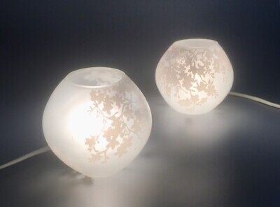 PAIR Of IKEA Glass KNUBBIG Table Lamps (SMALL Ones: 17cm) Cherry Blossom: White • 8.50£