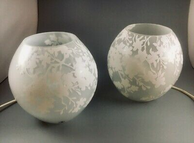 PAIR Of IKEA Glass KNUBBIG Table Lamps (LARGE Ones: 22cm) Cherry Blossom: White • 12.50£