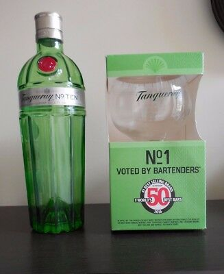 TANQUERAY, New, Boxed Copa Glass And Empty, Decorative Tanqueray Bottle 70 Cl • 8.50£