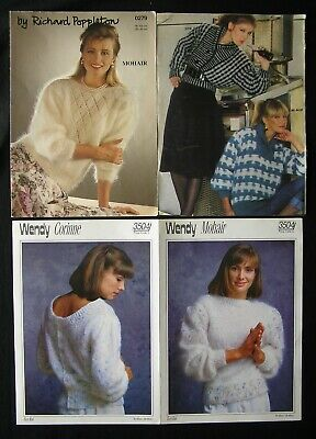 Knitting Patterns Bundle For Ladies Sweater & Cardigans; Using Mohair Yarn • 1.75£