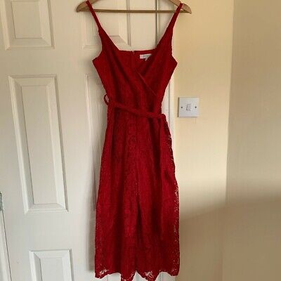 New Look Blue Vanilla Red Lace Cropped Jumpsuit Size 10/S Excellent Condition • 3£