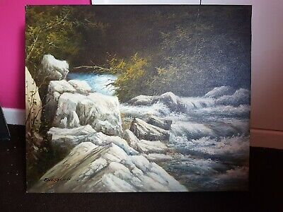 Vintage Original Oil Painting On Canvas 24  X 20  Signed  • 28£