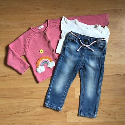 Baby Girl Clothes 12-18 Months White Bodysuit Rainbow Cardigan & Next Jeans • 1.75£