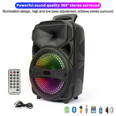 $38.99 • Buy 8  1000W Party Bluetooth Speaker Portable FM LED Stereo Tailgate Loud Mic System