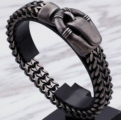Mens Luxury Designer Bracelets For Men Belt Buckle Style Arrow Biker 23cm Ssteel • 23.77£
