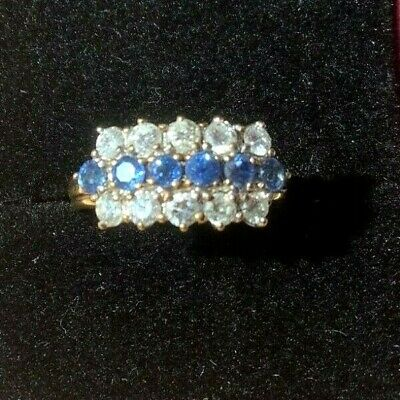 AU1590 • Buy Diamond And Sapphire Ring 18K Yellow Gold Vintage