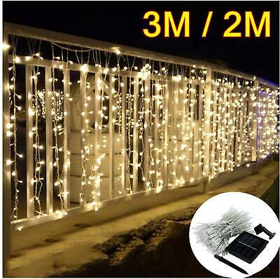 300LED Solar Curtain Lights Fairy String Outdoor Wedding Party Festoon Garden UK • 12.99£