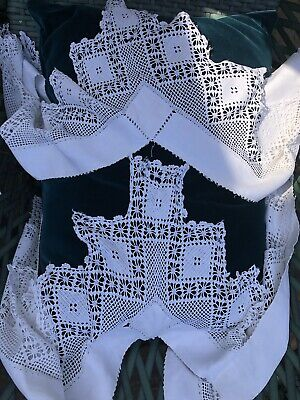 Lovely Wide Irish Crochet Lace Edging With Long Corners For Small Table Cloth • 4£