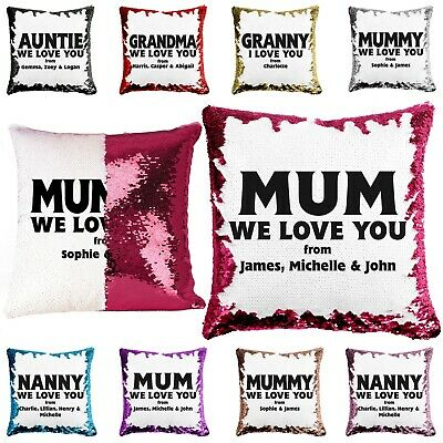 Personalised Mother's Day Sequin Cushion Message Name Reveal Pillow Case Love • 9.99£