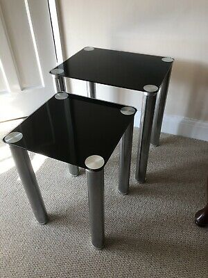 Nest Of Tables Glass And Chrome Used • 9.20£