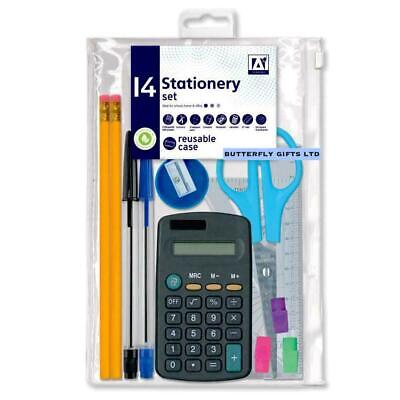 £3.90 • Buy School Stationary 14pc Set Pen Ruler  Pencil Calculator Stationery Back To Class