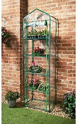 Large 5 Shelf Greenhouse With Transparent Walls Heavy Duty 2 Zip Front Covers  • 33.99£
