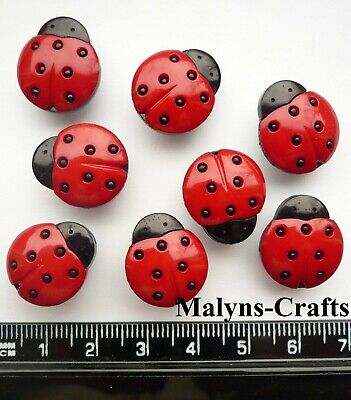 MEDIUM LADYBIRDS Novelty Craft Buttons Insect Garden Flower Beetle Bug Red Baby  • 2.50£