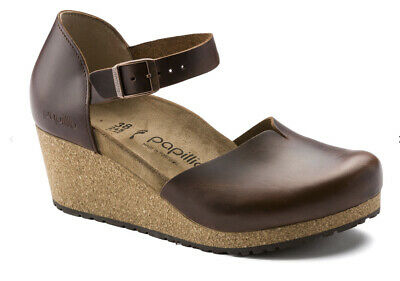 Papillio By Birkenstock Mary Cognac Brown Leather Wedge Shoes  Size Uk 5.5narrow • 94£