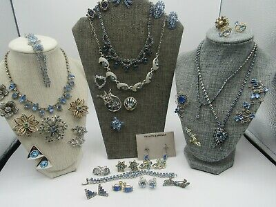 $ CDN25.23 • Buy Vintage Blue Rhinestone Jewelry Lot 33 Kramer, Coro, SAL & Un Signed