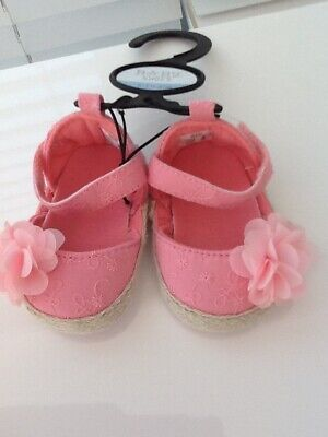 Baby Girls 0/3 Mths Summer Shoes Sandals Pretty Pink Flower Cosage  • 5£