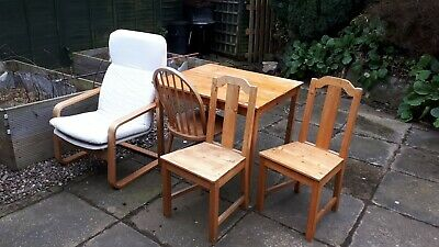 Ikea Table, 2x Chairs, Poang Arm Chair & Dining Chair • 0.49£