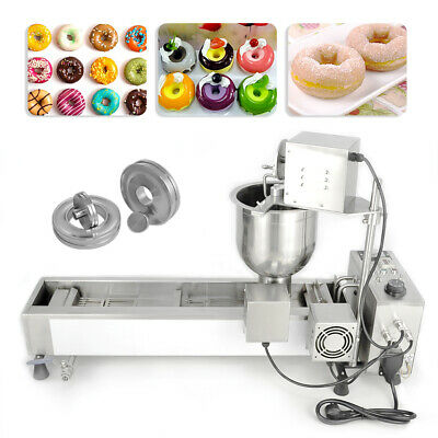 £740 • Buy Wide Oil Tank Commercial Donut Maker Making Machine 3 Sets Mold Automatic 220V