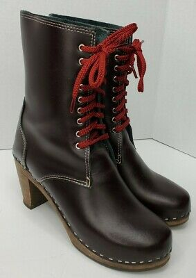 $99.99 • Buy MAGUBA Sidney Clog Lace Up Boots Womens EU 40/ US 9.5-10 Burgundy Made In Sweden