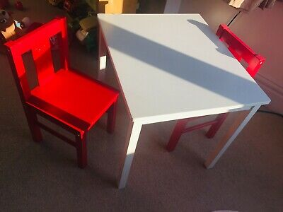 G4RCE Children's Table And Chair Set - White Table And 2 Red Chairs • 15£