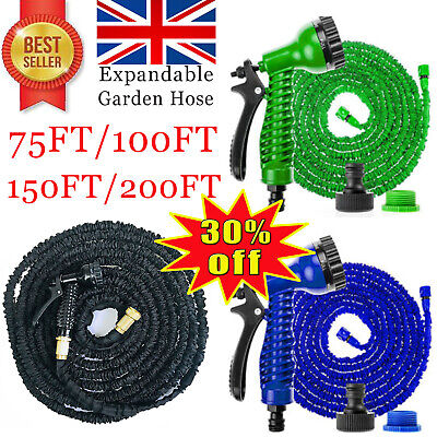 Expanding Garden Water Hose Pipe With 7 Function Spray Gun 75FT 100FT 150FT 200F • 10.66£