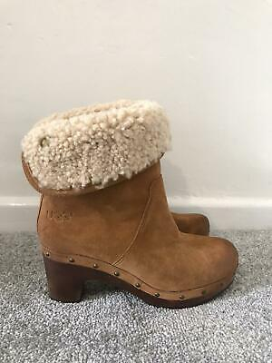 £43.99 • Buy Ugg Boots Size 3.5 Tan Suede Ankle Chelsea Boots Clogs Sheepskin Lined Leather