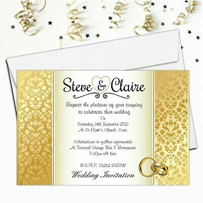 £4.85 • Buy 10 Personalised Gold Damask Wedding Invitations Invites Day Or Evening N35