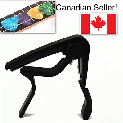 $ CDN10.99 • Buy Guitar Capo Electric Acoustic Black Guitar Capo + 4 Free Picks 🇨🇦 Seller