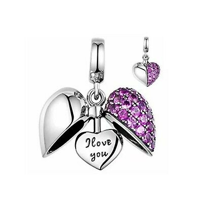£14.99 • Buy Purple Open Heart 'I Love You' Charm 925 Silver - Mum Sister Daughter+Gift Bag💓
