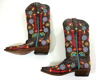 $110.99 • Buy Macie Bean Jambalaya Jesse Embroidered Brown Leather Western Boots Womens 6 1/2