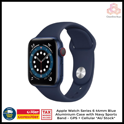 AU769 • Buy Apple Watch Series 6 44mm GPS + Cellular Blue Navy Sports Band - *AU Stock*