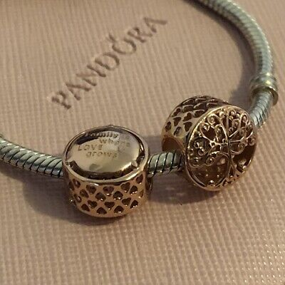 AU27.99 • Buy S925 Silver & Rose Gold FAMILY IS WHERE LOVE GROWS TREE Charm By Pandora's Wish