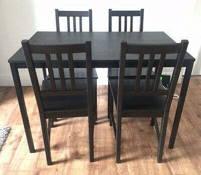 Black Dining Table & 4 Black Chairs - Immaculate Condition • 100£