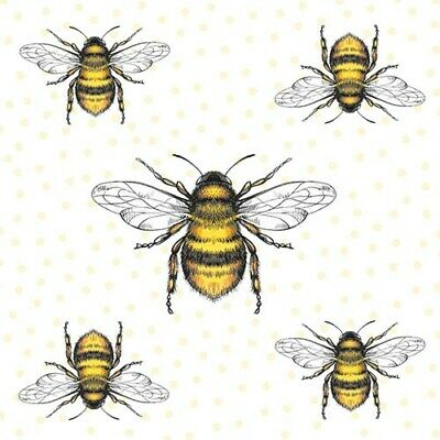 £2.89 • Buy Bee Bees 10 Napkins 33x33cm  Decoupage Paper Table Party Craft