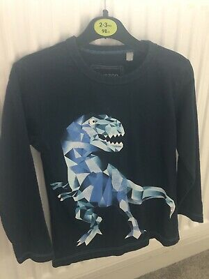 Boys Aged 2/3 Long Sleeved Light Top With Dinosaur On Navy • 1.99£