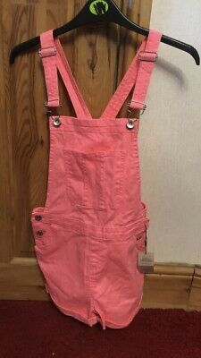 New • Bright Neon Pink Denim Dungarees Shorts   - Age 11 To 12 Years - PRIMARK • 3.20£