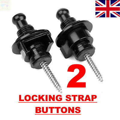 $ CDN3.49 • Buy 2 X Locking Strap Guitar Buttons Locks Fasteners Screw Bolt Electric Les Paul 🎵